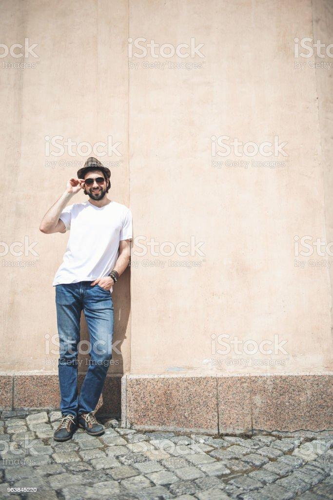 Stylish man posing on the street - Royalty-free Adult Stock Photo