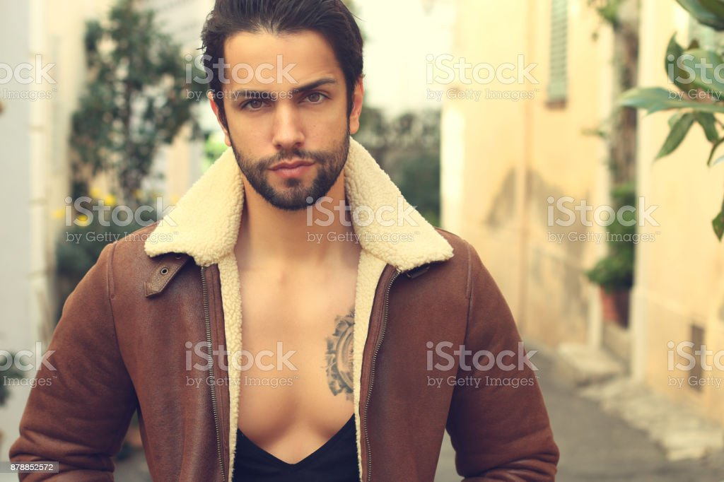 Stylish man with fashion outfit stock photo