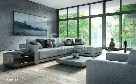 istock Stylish modern apartment living room 1193250165
