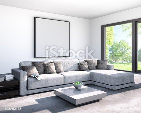 istock Stylish modern apartment living room 1193250178