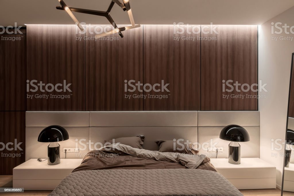 Stylish modern bedroom stock photo