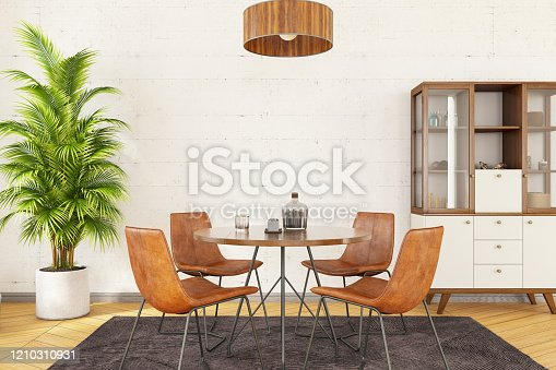 Stylish and modern dining room interior. 3d Render