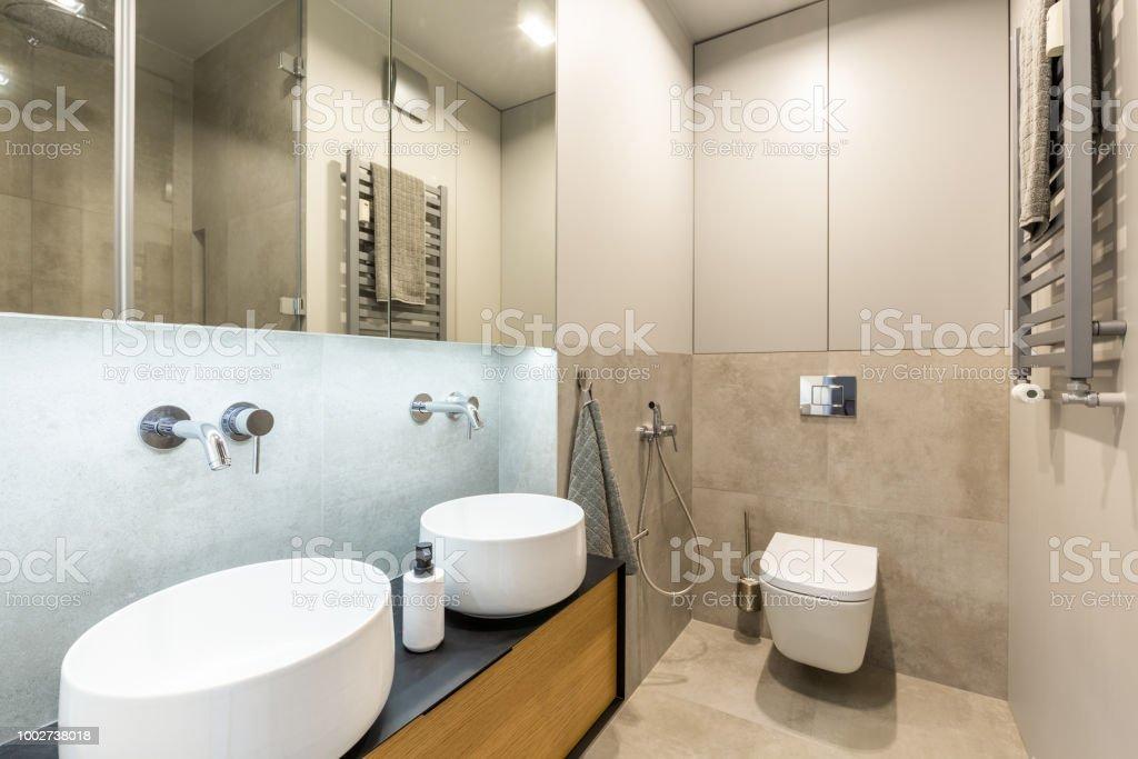 Stilvolles Modernes Ensuite Badezimmer Interieur Mit Beige ...