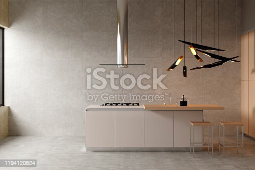 istock Stylish modern kitchen interior with a breakfast bar and a chandelier. Front view. 1194120824