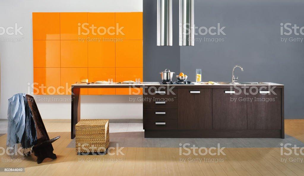 Stylish modern residential kitchen. stock photo