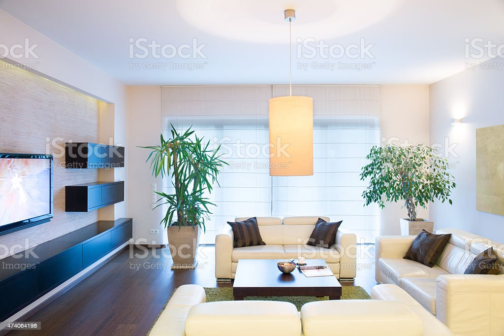 Stylish modern tv room stock photo