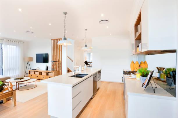 Stilvolle modulare Küche im Wohnzimmer – Foto