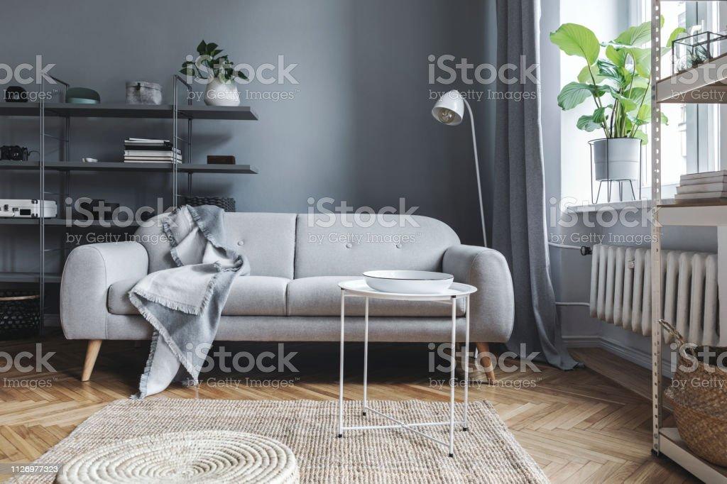Estilo Nórdico Salón Comedor Con Sofá De Diseño Con Elegante ...