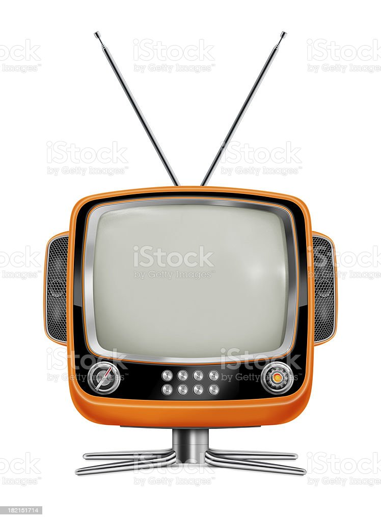 """Stylish Orange Vintage Television """"Front view of stylish retro portable TV with blank screen. TV has a orange plastic body, stereo speakers with honeycomb grille, black and gray frame, metallic buttons, metallic stand and antenna. Clean image and isolated on white background."""" 1960-1969 Stock Photo"""