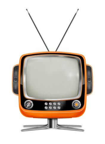 Stylish Orange Vintage Television Stock Photo - Download Image Now