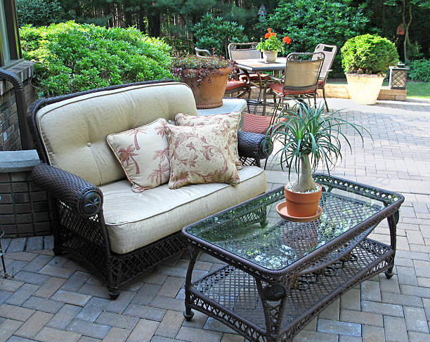 Stylish patio with furnishings stock photo