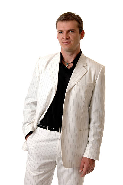 stylish - white suit stock photos and pictures