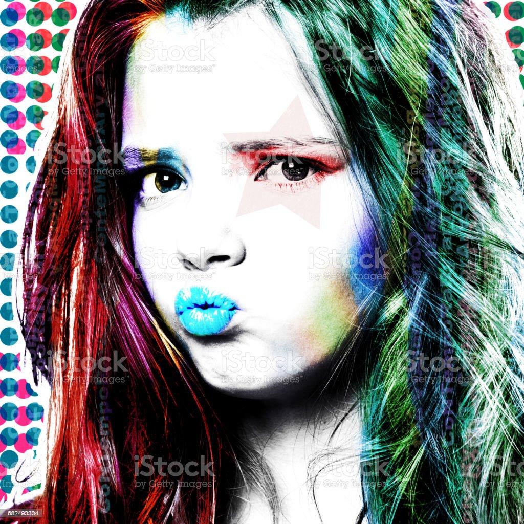 Stylish poster with a portrait of a girl close-up. Modern interpretation of the style of Pop Art. foto de stock libre de derechos