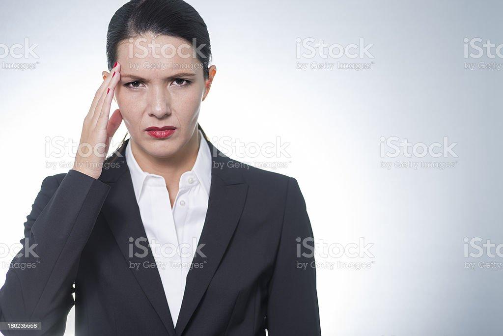 stylish pretty businesswoman with headache stock photo