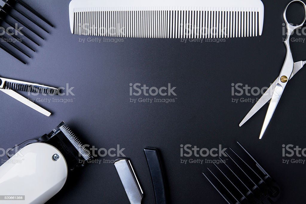 Stylish Professional Barber Scissors, Hair Cutting and Thinning stock photo