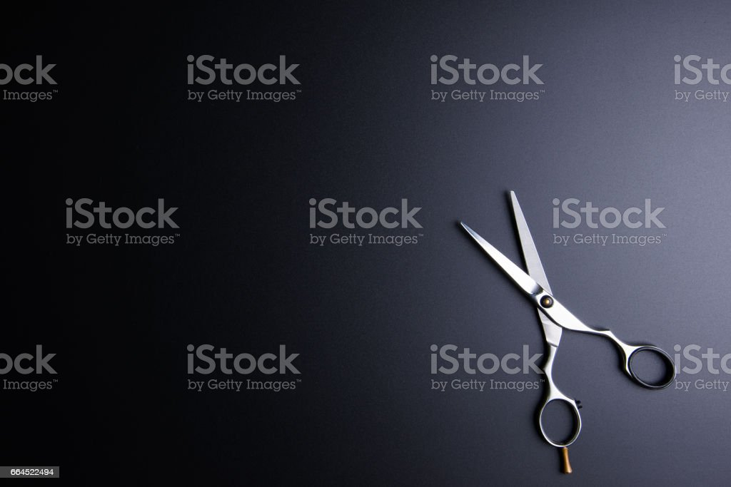 Stylish Professional Barber Scissors, Hair Cutting on black background. Hairdresser salon concept, Hairdressing Set. Haircut accessories. Copy space image, flat lay. stock photo