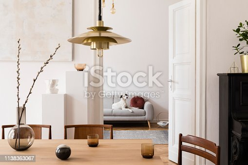 istock Stylish scandi interior of home space with design wooden table, chairs, sofa and gold pendant lamp. Living room with design accessories and piano.Beautiful white dog sitting on the couch.Elegant decor 1138363067