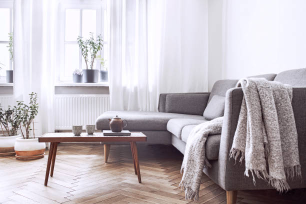 Stylish scandinavian interior of living room with small design table and sofa. White walls, plants on the windowsill. Brown wooden parquet. Stylish and modern scandinavian interior. scandinavian culture stock pictures, royalty-free photos & images