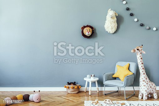 Stylish scandinavian kid room. Design interior of childroom. Template Home decor concept.