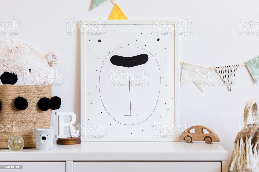 Stylish Scandinavian Newborn Baby Room With Toys Teddy Bear