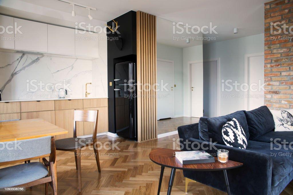 Stilvolle Skandinavischen Freifläche Mit Ess Und Wohnzimmer ...