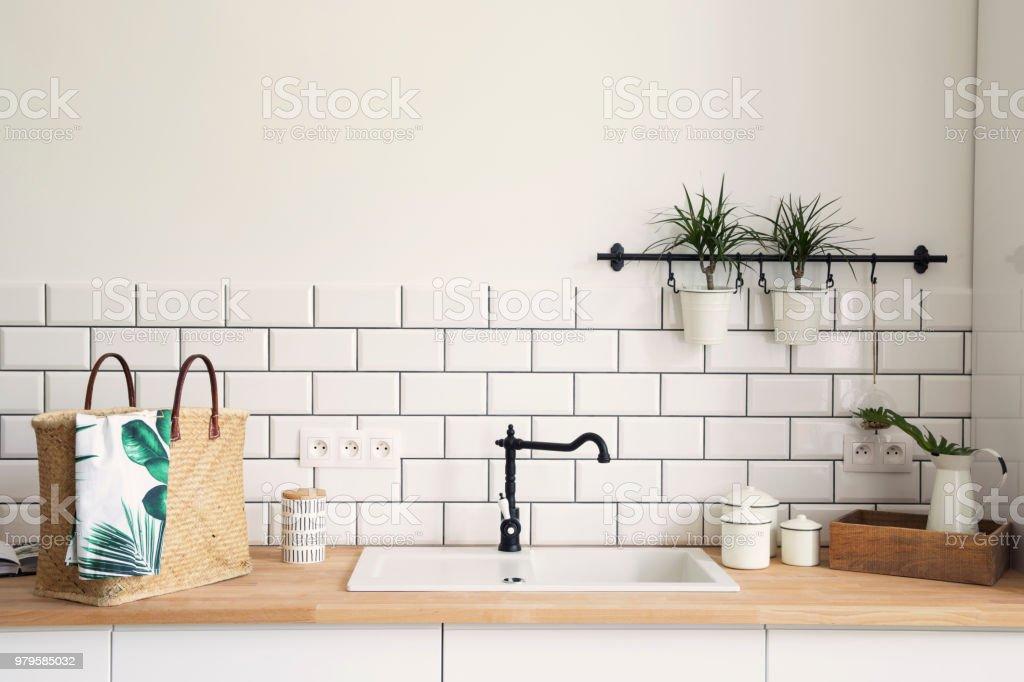 Stylish and modern scandinavian kitchen interior.