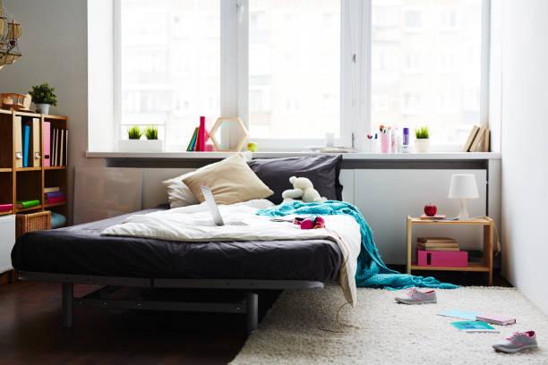 Stylish school girl bedroom stock photo