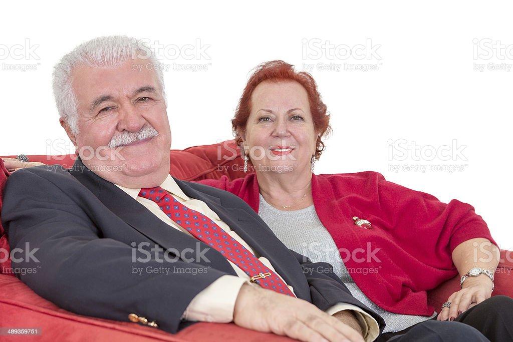 Stylish senior couple in red royalty-free stock photo