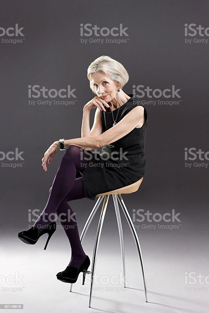 Stylish senior woman stock photo