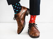 Stylish shoes and bright, funny, happy socks
