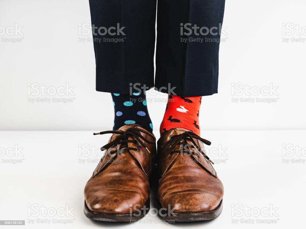 Elegante Schuhe Und Hell Lustig Glücklich Socken Stockfoto