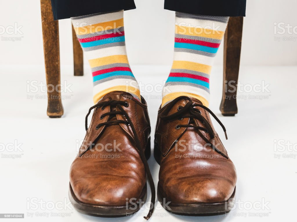 Stylish Shoes And Bright Funny Happy Socks Stock Photo More
