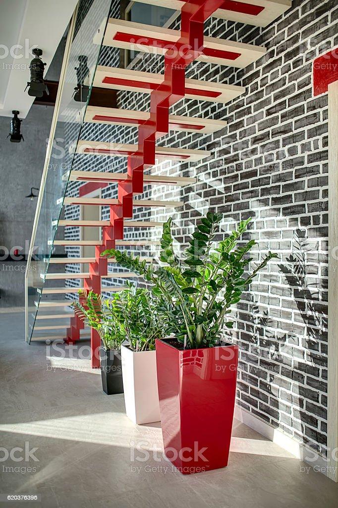 Stylish stair in modern interior zbiór zdjęć royalty-free