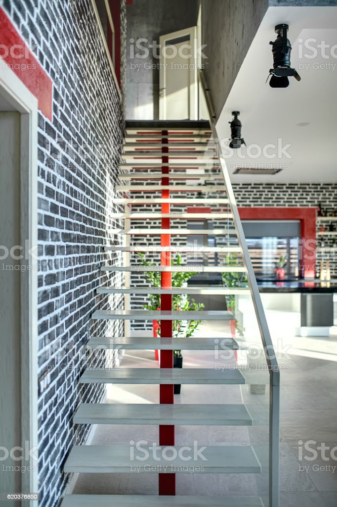 Stylish stair in modern interior zbiór zdjęć royalty-free