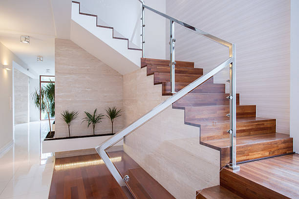 stylish staircase in bright interior - staircase stock photos and pictures