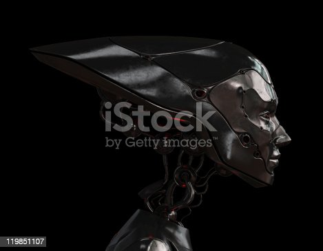 istock Stylish steel robotic girl 119851107