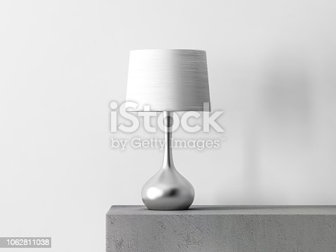 Stylish table lamp in white room, 3d rendering
