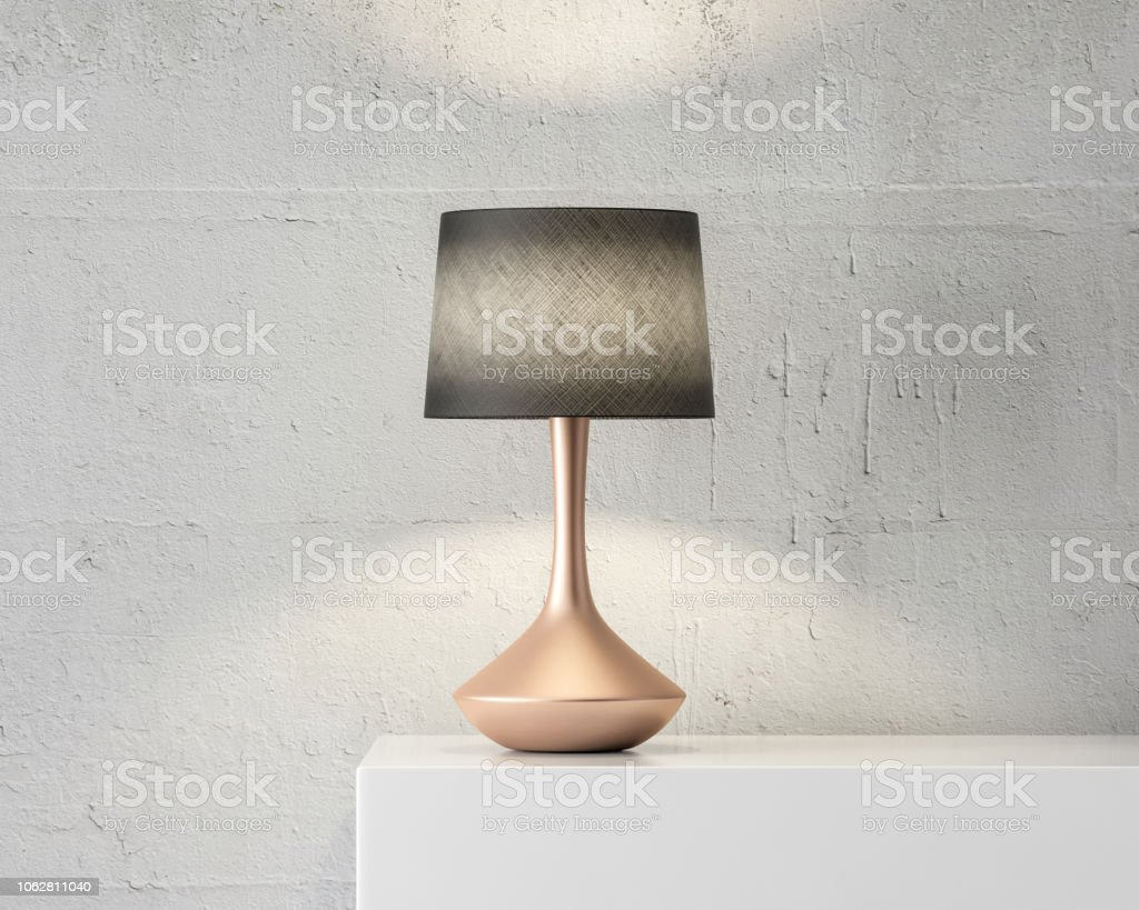 Stylish Table Lamp Mockup With Black Shade And Gold Stand On