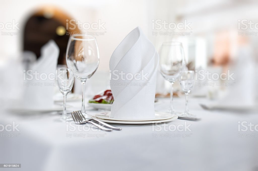 Stylish table set for wedding dinner stock photo