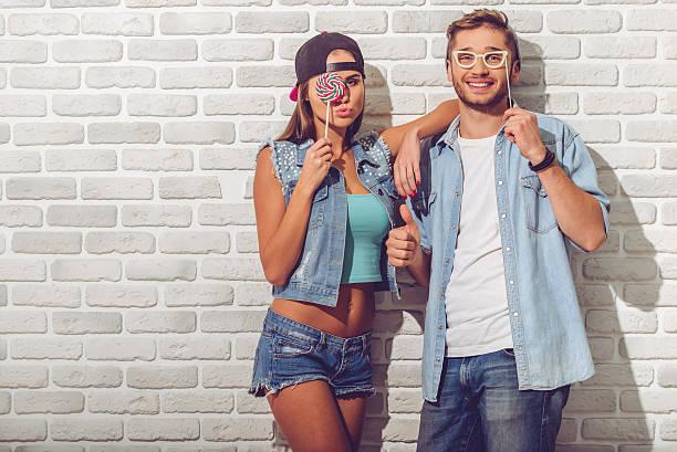 Stylish teenage couple stock photo