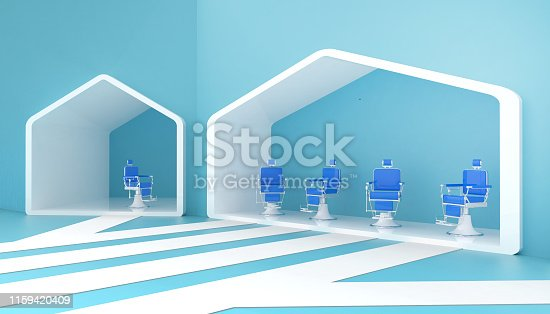 istock Stylish Vintage Barber Chair blue and Contemporary in red tones and simple on background of blue walls and modern ideas - 3d rendering 1159420409