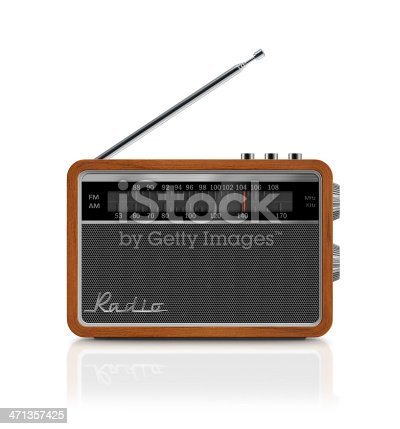 Front view of stylish, retro, portable transistor radio which received FM and AM bands. Radio has a wooden body, analog display, honeycomb speaker grille with metallic buttons, antenna and