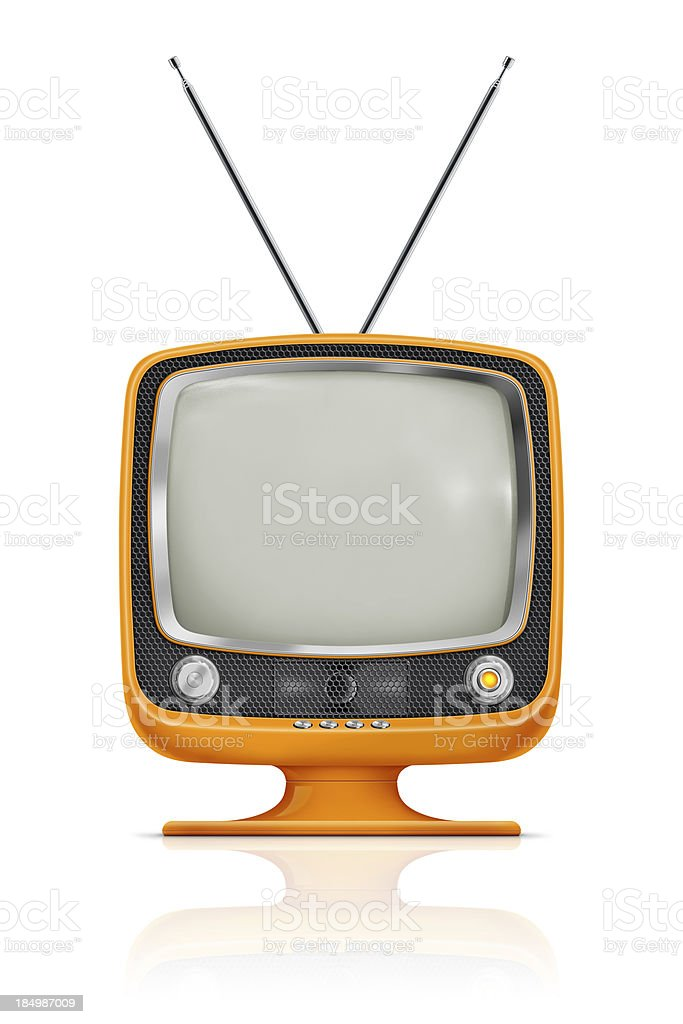 """Stylish Vintage Television """"Stylish retro portable TV with blank screen. TV has a orange plastic body, honeycomb speaker grille with metallic buttons and antenna. Clean image and isolated on white background."""" 1960-1969 Stock Photo"""