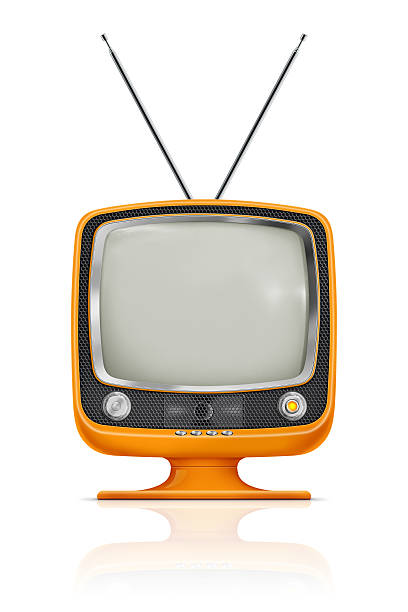 "Stylish Vintage Television ""Stylish retro portable TV with blank screen. TV has a orange plastic body, honeycomb speaker grille with metallic buttons and antenna. Clean image and isolated on white background."" portable television stock pictures, royalty-free photos & images"