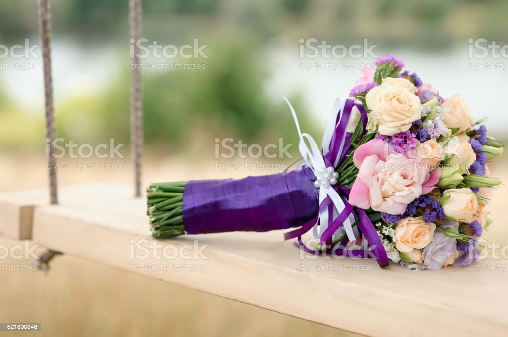 Stylish Wedding bouquet with fresh flowers stock photo