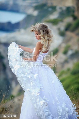 istock Stylish wedding photo of a young woman in the fresh air on the background of nature 1207076195