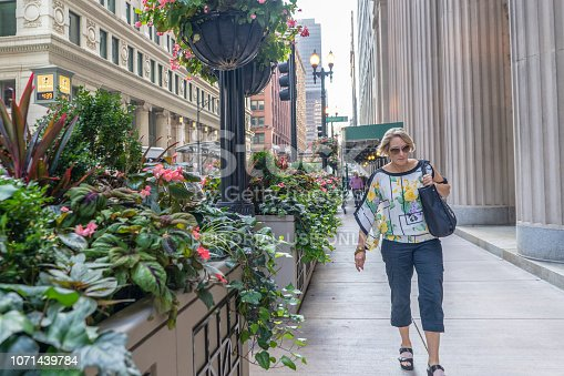 Chicago, IL / USA - September 20, 2017: A woman walks past beautiful flowers in bloom downtown Chicago, in the Loop, on a late summer day. Chicago is very scenic, and the Loop area is well maintained.
