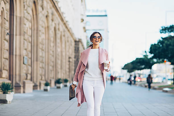 Stylish woman on the square stock photo