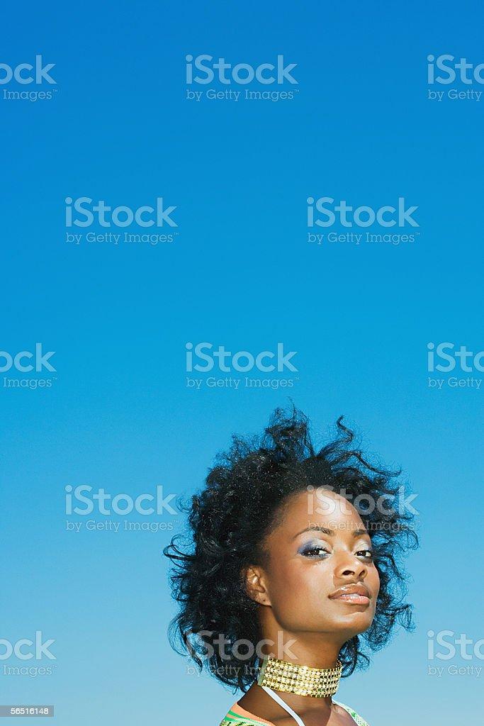 Stylish woman wearing a choker royalty-free stock photo