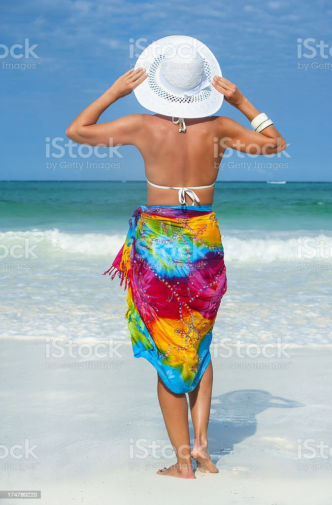 Stylish woman with hat looking into the sea royalty-free stock photo